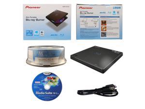 Pioneer BDR-XD05 6X M-Disc BDXL CD DVD Slim Portable External Burner Writer Drive + FREE 15pk Mdisc BD + CyberLink Software Disc + USB Cable