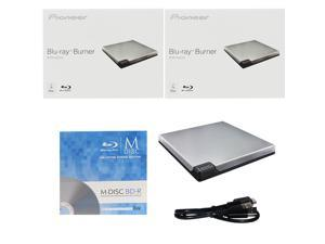 Pioneer BDR-XD05S 6X M-Disc BDXL CD DVD Slim Portable External Burner Writer Drive + FREE 1pk Mdisc BD + USB Cable