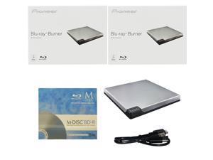Pioneer BDR-XD05S 6X M-Disc BDXL CD DVD Slim Portable External Burner Writer Drive + FREE 3pk Mdisc BD + USB Cable