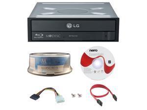 LG WH16NS40 16X M-Disc Blu-ray BDXL CD DVD Internal Burner Writer Drive + FREE 15pk Mdisc BD + Nero Software Disc + Cables & Mounting Screws