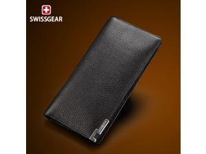SWISSGEAR long section imported leather wallet,men wallet,leather purse,,black purse BW40410