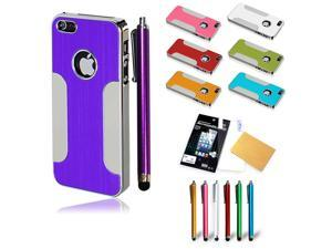 New Metallic Luxury Brushed Aluminum Hard Case With Stylus Pen & Screen Protector For iPhone 5 5G 5S