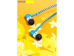 2015 blue Zip zipper handsfree Earphone earbud headset remote Mic 3.5mm jack for all smart phone PC