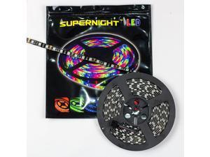SUPERNIGHT 5M 16.4ft 3528 SMD 300 LED RGB Light Strip Bright Flexible Lamp Waterproof 60LEDs/M Black PCB