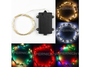 SuperNight® Timming Super Bright Indoor and Outdoor String Lights / Battery Operated /RGB 3M 30leds LED Long Silver String Wire Light with Timer Box RGB