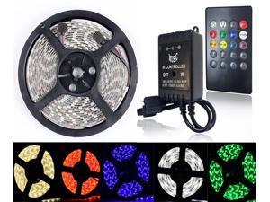 SuperNight® 16.4ft SMD 5050 Waterproof 300LEDs RGB Flexible LED Strip Light Lamp + 20Key IR Music Remote Controller