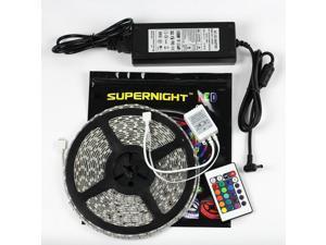 SuperNight® 32.8ft 10M Waterproof Flexible Strip 600leds Color Changing RGB SMD5050 LED Light Strip Kit RGB 5M +24Key Remote+24V 5A Power Supply