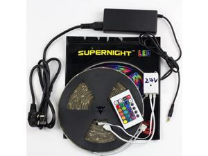 SuperNight® 10 Meters RGB LED Strip Kit 5050 SMD Multi-color LED Lights Birthday Party TV Wall Backlighting with Remote Controller Power Adapter DC 24V