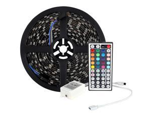 SUPERNIGHT (TM) 16.4FT SMD 5050 IP65 Waterproof 300LEDs RGB Flexible Black PCB LED Strip Light Lamp Kit + 44Key IR Remote Controller