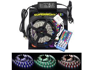 SuperNight® 16.4ft 5M RGBW RGB+Cool White 300leds 5050 SMD LED Strip Light + 12V 5A Power Supply + 40 Key IR Remote Controller