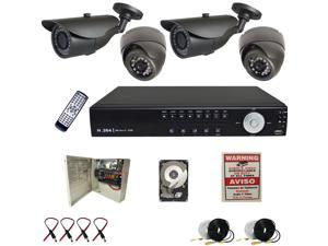 4 Channel CCTV Surveillance D1 DVR Home Security System 700TVL High Resolution Cameras 1TB HDD Installed and Configured