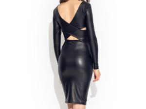 Dear-Lover Women's Reversible Faux Leather Midi Dress with Long Sleeves - Large Size (Black)