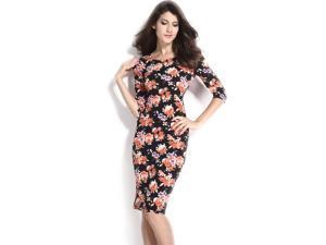 Dear-Lover Women's V Back Half Sleeves Floral Midi Dress Casual Autumn Clubwear One Size - Black