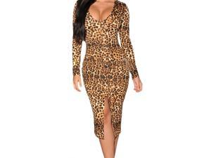 Dear-Lover Women's Long-sleeve Leopard Midi Dress With Front Slit Low Neck Spring - One Size Multicoloured