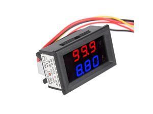 """0.28"""""""" Red&Blue Digital Dual LED DC 0-100V 0-9.99A Ammeter Voltage Meter 5 Wires"""