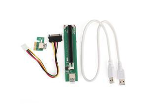 PCI-E 1X to 16X Riser Extender Card with Power Supply + 60cm USB Cable