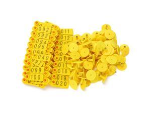 Yellow 1-100 Number Plastic Livestock Ear Tag For Goat Sheep Pig With 100 Sets