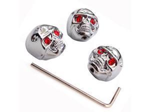 Chrome Metal Electric Guitar Skull Head Volume Knob Set / Red eyes