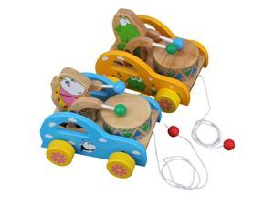 Pull Along Wooden Car w/ Cute Frog Playing Drum Pre-school Kids Toy Random Color