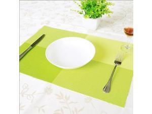 5pcs Home Kitchen Dining Placemat Green Adiabatic PVC Strip Weave Table Mat