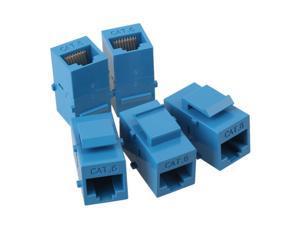 5pcs Female to Female RJ45 UTP Keystone Wall Jack Coupler Adapter Cat6 Blue
