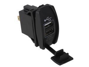 Waterproof Dual USB Port Green LED Light DC12V-24V Car Charger Rocker Style
