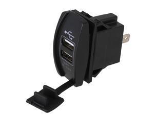 Dual 5V/3.1A USB Car Charger Waterproof Rocker Style Blue LED Light Car Socket