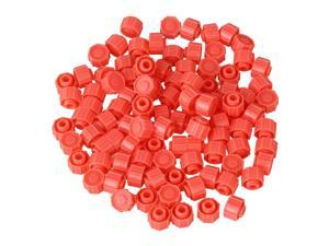 BQLZR 100 Pieces Watermelon Red Round Dispensing Industrial Syringe Tip Caps