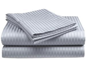 Queen Size Silver 400 Thread Count 100% Cotton Sateen Dobby Stripe Sheet Set