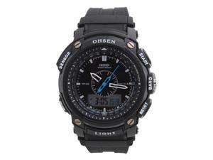 OHSEN Unisex Waterproof Digital LCD Alarm Date Mens Military Sport Rubber Watch Black