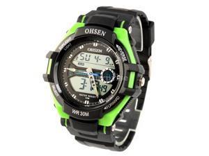 Ohsen 30M Waterproof Men Dial Silicone Band Quartz Analog-Digital Sports Wrist Watch Green