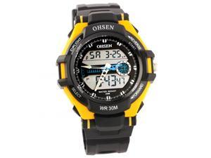 Ohsen 30M Waterproof Men Dial Silicone Band Quartz Analog-Digital Sports Wrist Watch Yellow