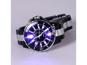 Ohsen Fashion Stainless Steel 7 Colors LED light Sport Analog Quartz Black Band Wrist Watch