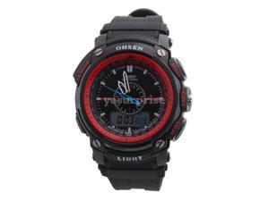 Ohsen 30M Waterproof Rubber Band Round Analog Unisex Sport Quartz Wrist Watch Red