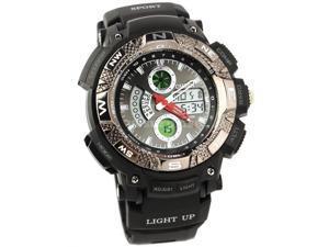 Ohsen 30M Waterproof Men Dial Silicone Band Quartz Analog-Digital Sports Wrist Watch Black