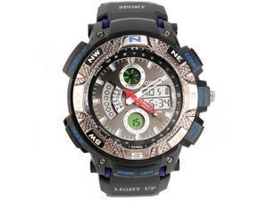 Ohsen 30M Waterproof Men Dial Silicone Band Quartz Analog-Digital Sports Wrist Watch Blue