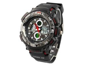 Ohsen 30M Waterproof Men Dial Silicone Band Quartz Analog-Digital Sports Wrist Watch Red