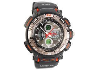 Ohsen 30M Waterproof Men Dial Silicone Band Quartz Analog-Digital Sports Wrist Watch Orange
