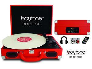 Boytone BT-101TNRD Mobile Suitcase Turntable, Red
