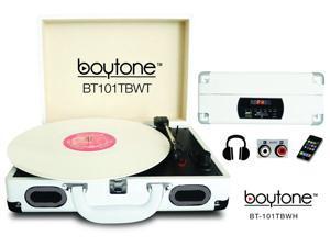 Boytone BT-101TBWT Mobile Suitcase Turntable, White