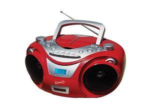 Supersonic SC-709 Portable MP3/CD Boombox +Cassette Recorder, AM/FM & USB Input, RED