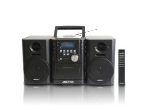AXESS MS3912 Mini Entertainment System with AM/FM, USB, CD, MP3 Player & Cassette Recorder With Headphone and Aux Jack