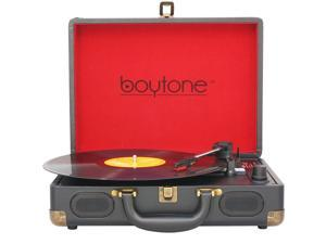 Boytone BT-101TB Bluetooth Turntable Briefcase Record player AC-DC, Rechargeable Battery, Speakers, LCD Display, FM Radio, USB/SD Slot, AUX / MP3, Encoding, FM Radio