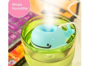 iRun® USB Travel Air Humidifier, Creative Cute Cool Animal Whale Car Offices Air Mist Diffuser Purifier, Ultra Portable Humidifier for Home, Bedroom,Living room, Dormitory, College (Blue)