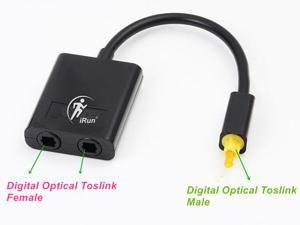 2 Way Toslink Digital Optical SPDIF Audio 1x2 Splitter DVD,PS3,Xbox Converter Toslink Optical Fiber Audio Cable, black