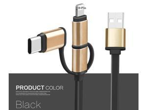 3in1 USB Cable, 3FT Durable Flat Multi Charge Cable Micro/Lightning/Type C Universal for iPhone 6 6 Plus 5 5s se, iPad Air, New Macbook, iPod 5, Sumsung, HTC, Nokia, Nexus, ChromeBook - BLACK