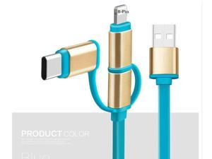 3in1 USB Cord for Lightning Micro USB Type C Type-C Data Sync Charging Cable USB Line - Blue