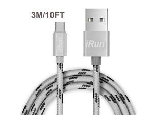 "10Ft Braided USB Type C Cable, USB Type C to USB A Charging Cord Sync Data Cable for New 12"" MacBook, Nokia N1, Nexus 6P 5X, Samsung Galaxy Note 7, LG G5 V20, HTC 10, Oneplus 2/3 and More - White"