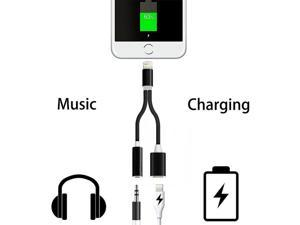 New 2 in 1 Charge & Listen Audio Play Adapter For iPhone 7 plus Lighting to Lightning 8PIN charging port and 3.5mm AUX Headphone Adapter -BK