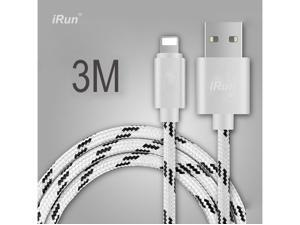 10Feet Lightning 8Pin USB Cable, Strong Woven Charging/Sync USB Charger Line for iPhone/iPad/iPod, 3 Meter Long, White iRun®